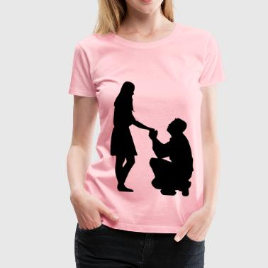 Marriage Proposal Silhouette No Ground - Women's Premium T-Shirt