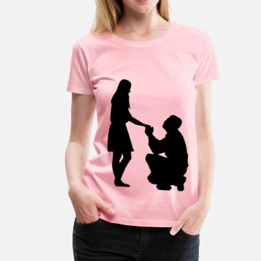 Marriage Proposal Marriage Proposal Silhouette No Ground - Women's Premium T-Shirt