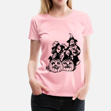 Warlock Witches and pumpkins - Women's Premium T-Shirt