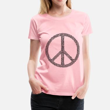 Black Peace Sign Peace Sign Word Cloud Black - Women's Premium T-Shirt