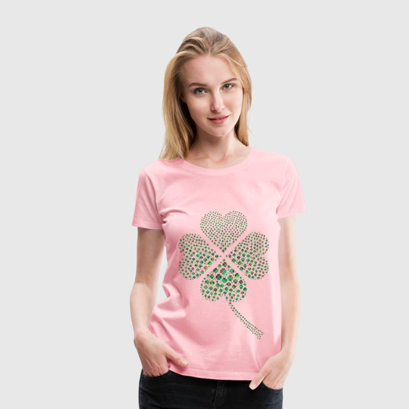 Green Four Leaf Clover Fractal No Background - Women's Premium T-Shirt