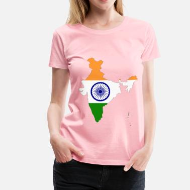 India Map India Map Flag With Stroke - Women's Premium T-Shirt