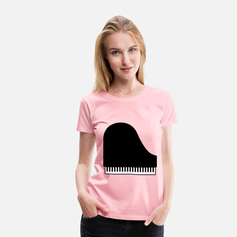 Illustration T-Shirts - Piano Icon - Women's Premium T-Shirt pink
