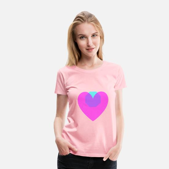 Bright T-Shirts - Transparent Magenta Loveheart Octagon - Women's Premium T-Shirt pink