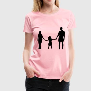 Mother Daughter Father Holding Hands Silhouette - Women's Premium T-Shirt