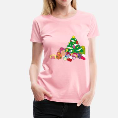 Christmas Present Christmas Tree And Presents Illustration - Women's Premium T-Shirt