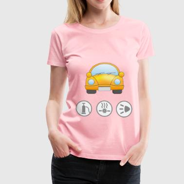 Yellow car with symbolic signs for safety - Women's Premium T-Shirt