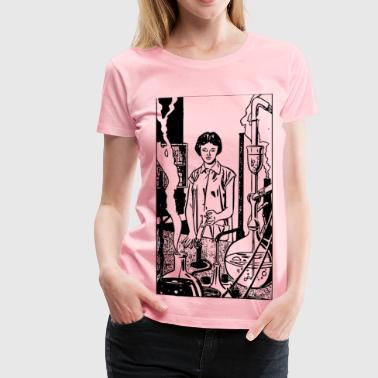Scientist Woman (comic book style) - Women's Premium T-Shirt