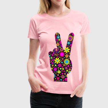 Hand Peace Sign Floral Peace Hand Sign - Women's Premium T-Shirt