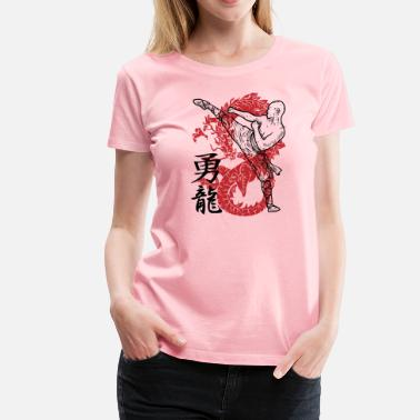 Japanese Kanji Symbols Kung Fu Chinese Dragon Martial Arts - Women's Premium T-Shirt