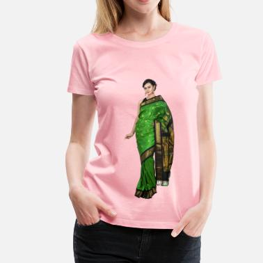 Saree Woman in saree - Women's Premium T-Shirt