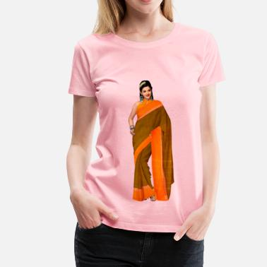 Saree Woman in saree 4 - Women's Premium T-Shirt