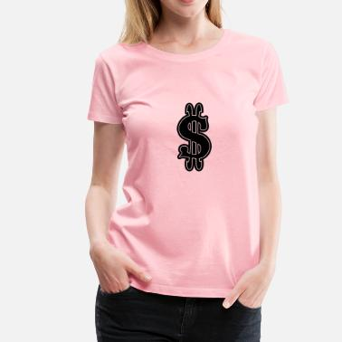 Black To White Gradient Black   White Dollar Sign - Women's Premium T-Shirt