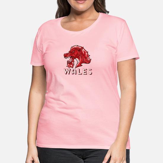 Ladies Cymru Dragon T-shirt Welsh Wales Rugby Football Birthday Gift Wife Mum
