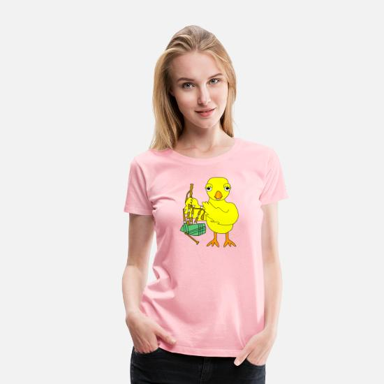 Chicken T-Shirts - Bagpipe Chick - Women's Premium T-Shirt pink