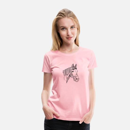 Birthday T-Shirts - Cute Hand Drawn Horse Heads, Vintage Style - Women's Premium T-Shirt pink
