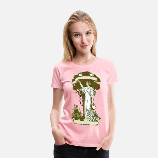 Big T-Shirts - Woman at Apple Tree Color - Women's Premium T-Shirt pink