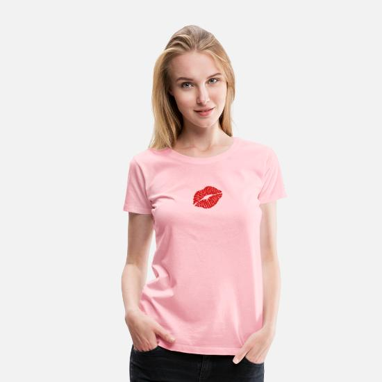 Lips T-Shirts - kiss lips kb2 - Women's Premium T-Shirt pink