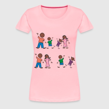 Black Stick Figure Family - Women's Premium T-Shirt