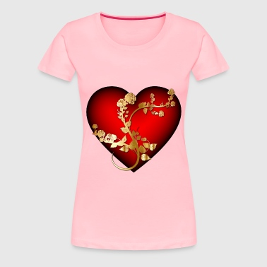 Golden Rose Heart Enhanced - Women's Premium T-Shirt