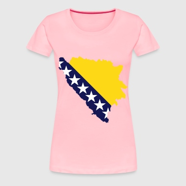 Bosnia And Herzegovina Map Flag - Women's Premium T-Shirt