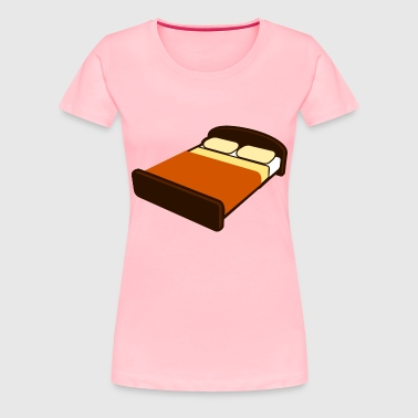 Brown Bed with Brown Blanket - Women's Premium T-Shirt