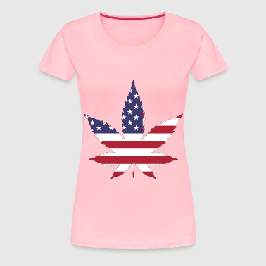 Marijuana American Flag With Stroke - Women's Premium T-Shirt