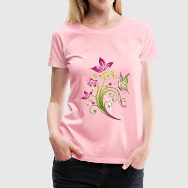 Pink and green flowers with butterfly - Women's Premium T-Shirt