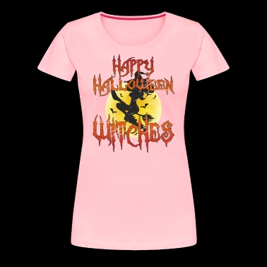 Happy Halloween Witches: Sexy Witch Riding Broom - Women's Premium T-Shirt
