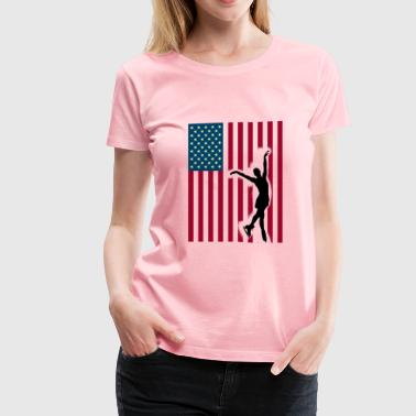 skating ice America flag US Sport Team Princess lo - Women's Premium T-Shirt