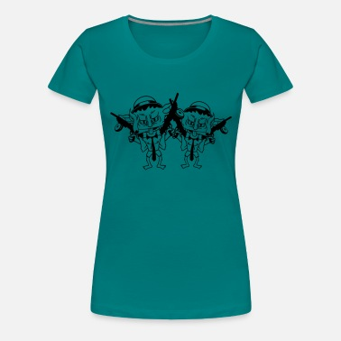 Mafia team couple friends 2 creaking weapons machines gu - Women's Premium T-Shirt