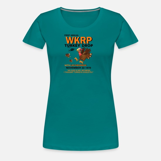 Wkrp T-Shirts - First annual WKRP Turkey Drop with Les Nessman - Women's Premium T-Shirt teal