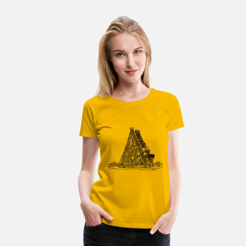 Black T-Shirts - William Herschel s telescope - Women's Premium T-Shirt sun yellow