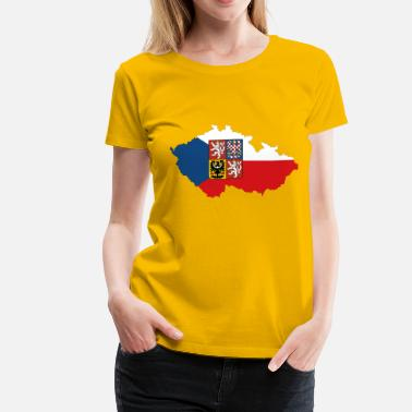 Czech Czech Republic Map Flag With Stroke And Coat Of Arms - Women's Premium T-Shirt