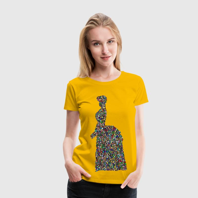 Iridescent Tiled Old Fashioned Victorian Woman Silhouette Variation 2 - Women's Premium T-Shirt