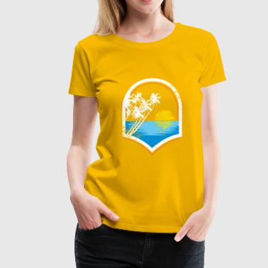 Ocean Sunset Palm trees sea kids gift - Women's Premium T-Shirt