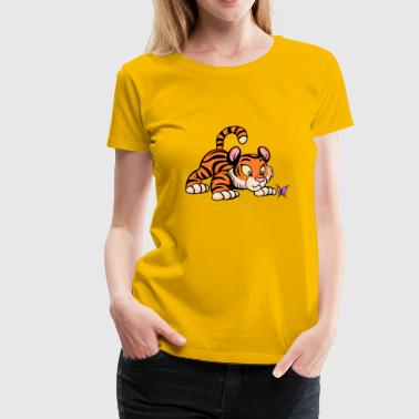 Baby Tiger with Butterfly - Women's Premium T-Shirt