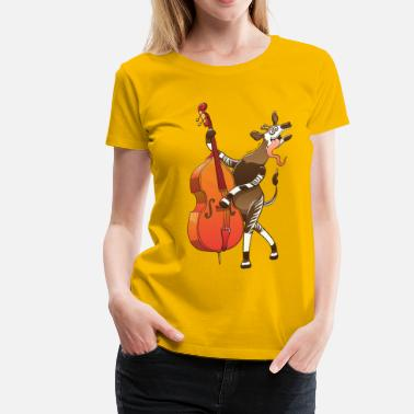 Funky Bass Cool Okapi Playing Double Bass - Women's Premium T-Shirt