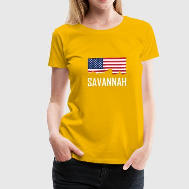 Savannah Georgia Skyline American Flag - Women's Premium T-Shirt