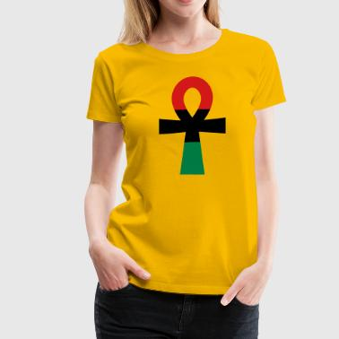African Medallion Hip Hop Red, Black & Green Ankh - Women's Premium T-Shirt
