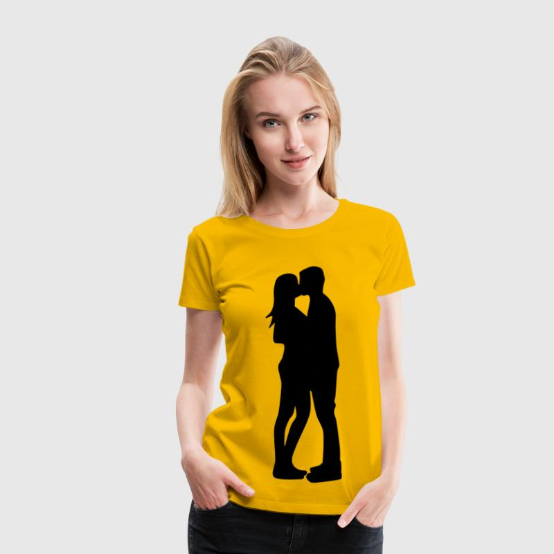 Couple Kissing Silhouette 2 - Women's Premium T-Shirt