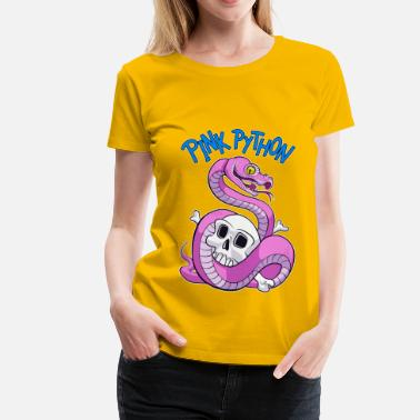 Cartoonart Pink Python (Blue) - Women's Premium T-Shirt