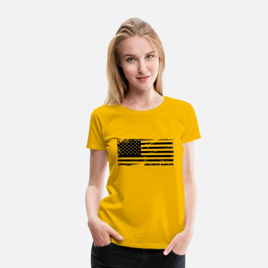 Country T-Shirts - scratch stamp tears old stripes map country americ - Women's Premium T-Shirt sun yellow