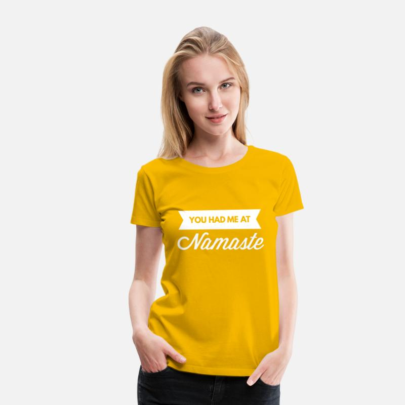 Yogi T-Shirts - You had me at Namaste - Women's Premium T-Shirt sun yellow