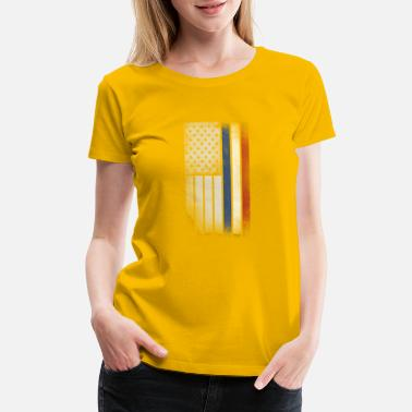 Dutch Flag Dutch American Flag - Half Dutch Half American - Women's Premium T-Shirt