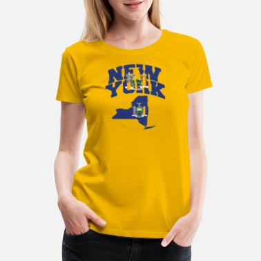 Brooklyn New York Flag Map - Women's Premium T-Shirt