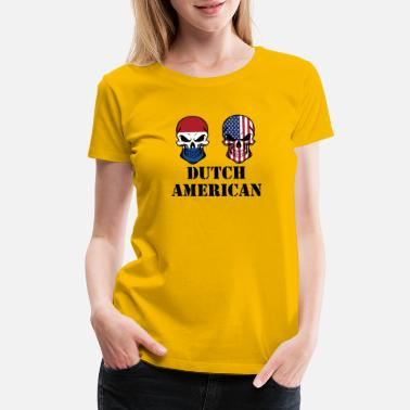 Dutch American Flag Dutch American Flag Skulls - Women's Premium T-Shirt