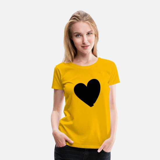 Heart T-Shirts - Hand drawn comic heart -love lover girlfriend cute - Women's Premium T-Shirt sun yellow