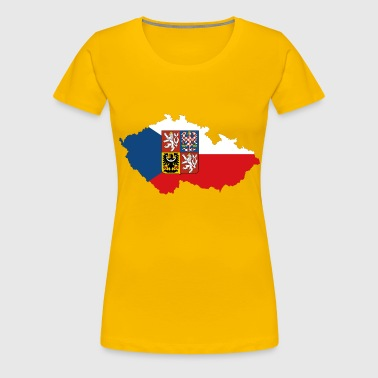 Czech Republic Map Flag With Stroke And Coat Of Arms - Women's Premium T-Shirt