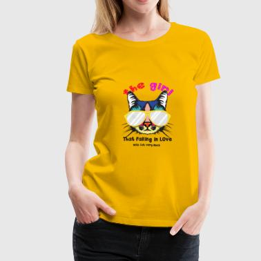 the girl that falling in love with cat very much - Women's Premium T-Shirt